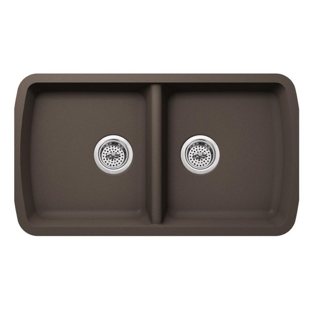 Undermount Quartz 33-3/4 in. 50/50 Double Bowl Kitchen Sink in Mocha Brown