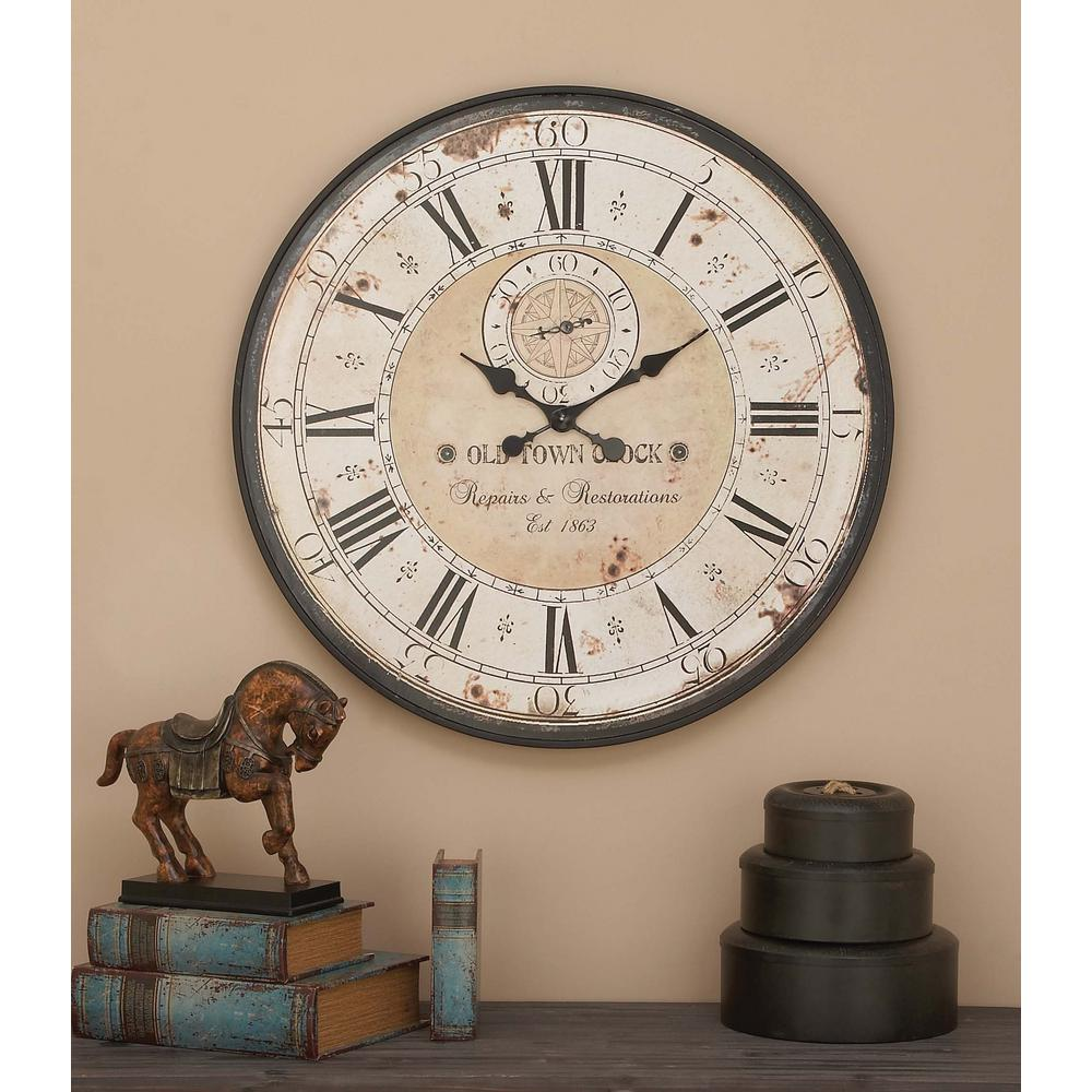 32 in. Round Rustic Black Iron and Wood Antique Roman Numeral