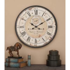 32 inch Vintage 24 Hour Analog Dial Wall Clock by