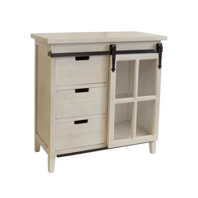 Weathered Barn Wood Distressed Antique White Sliding Glass Door Storage Cabinet with 3-Drawers
