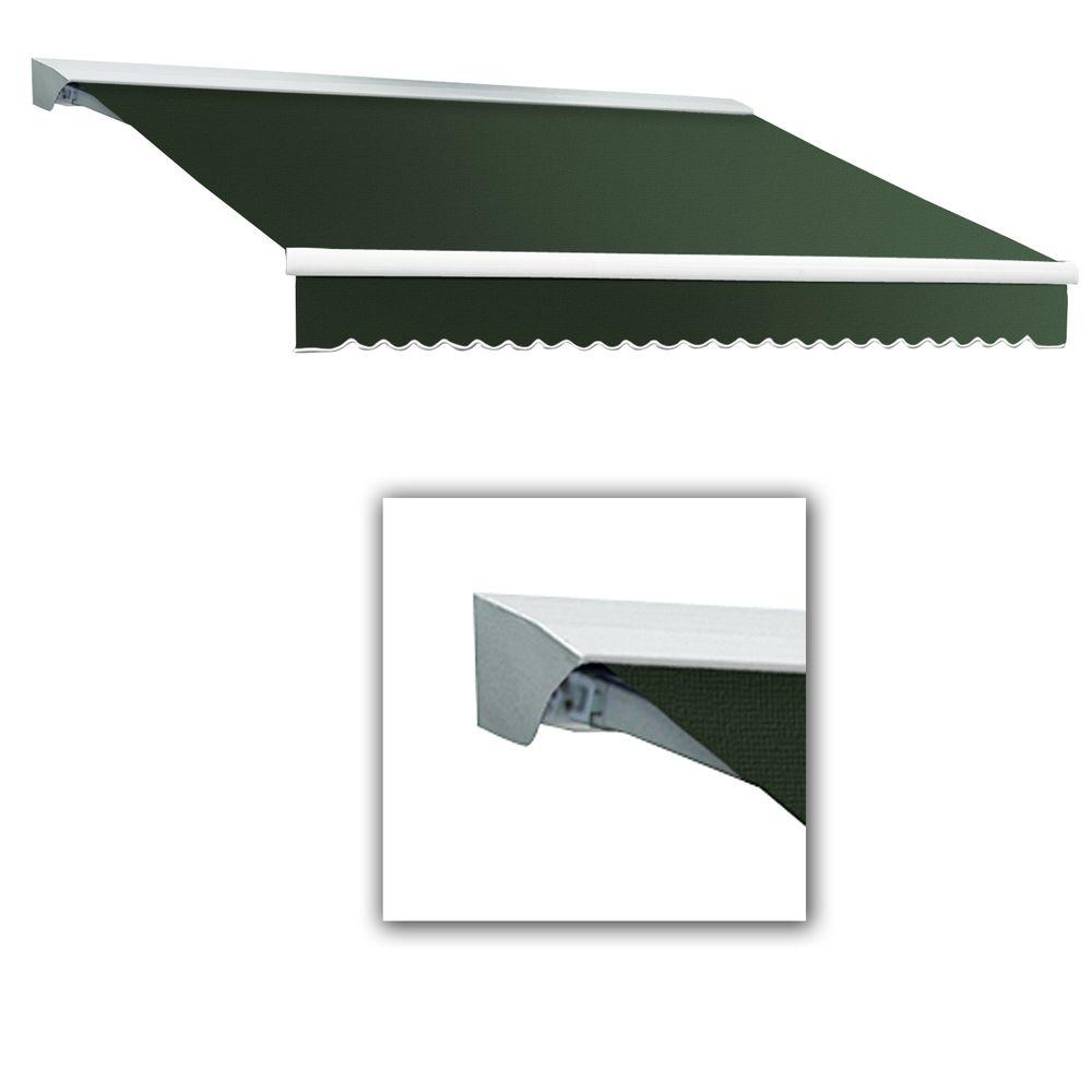 AWNTECH 14 ft. LX-Destin with Hood Left Motor/Remote Retractable Acrylic Awning (120 in. Projection) in Olive or Alpine