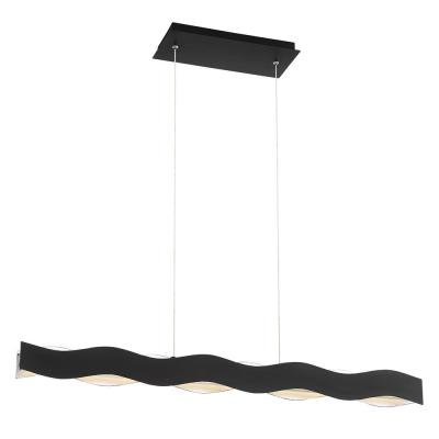 Ripple 42-Watt Bronze Chandelier Integrated LED with Metal Waves Shade
