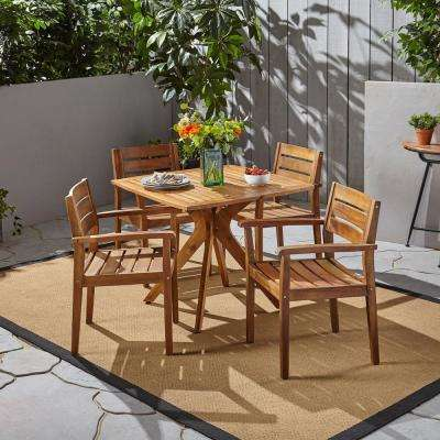 Stamford Teak Brown 5-Piece Wood Outdoor Dining Set with X Base