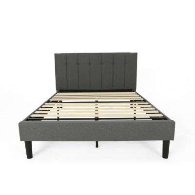 Heinze Contemporary Modern Queen-Size Charcoal Gray Fully Upholstered Platform Bed Frame