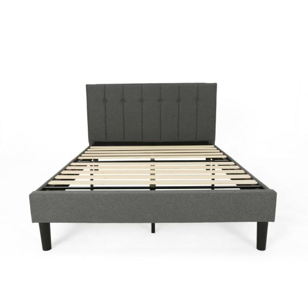 Noble House Heinze Contemporary Modern Queen-Size Charcoal Gray Fully Upholstered Platform Bed Frame