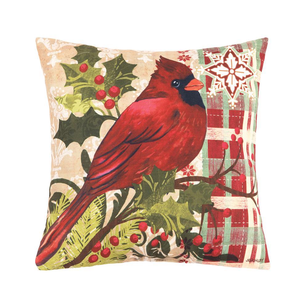 Winter Cardinal Indoor/Outdoor Red Standard Pillow
