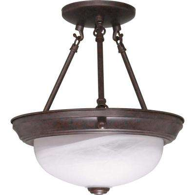Elektra 2-Light Old Bronze Semi-Flush Mount Light with Alabaster Glass