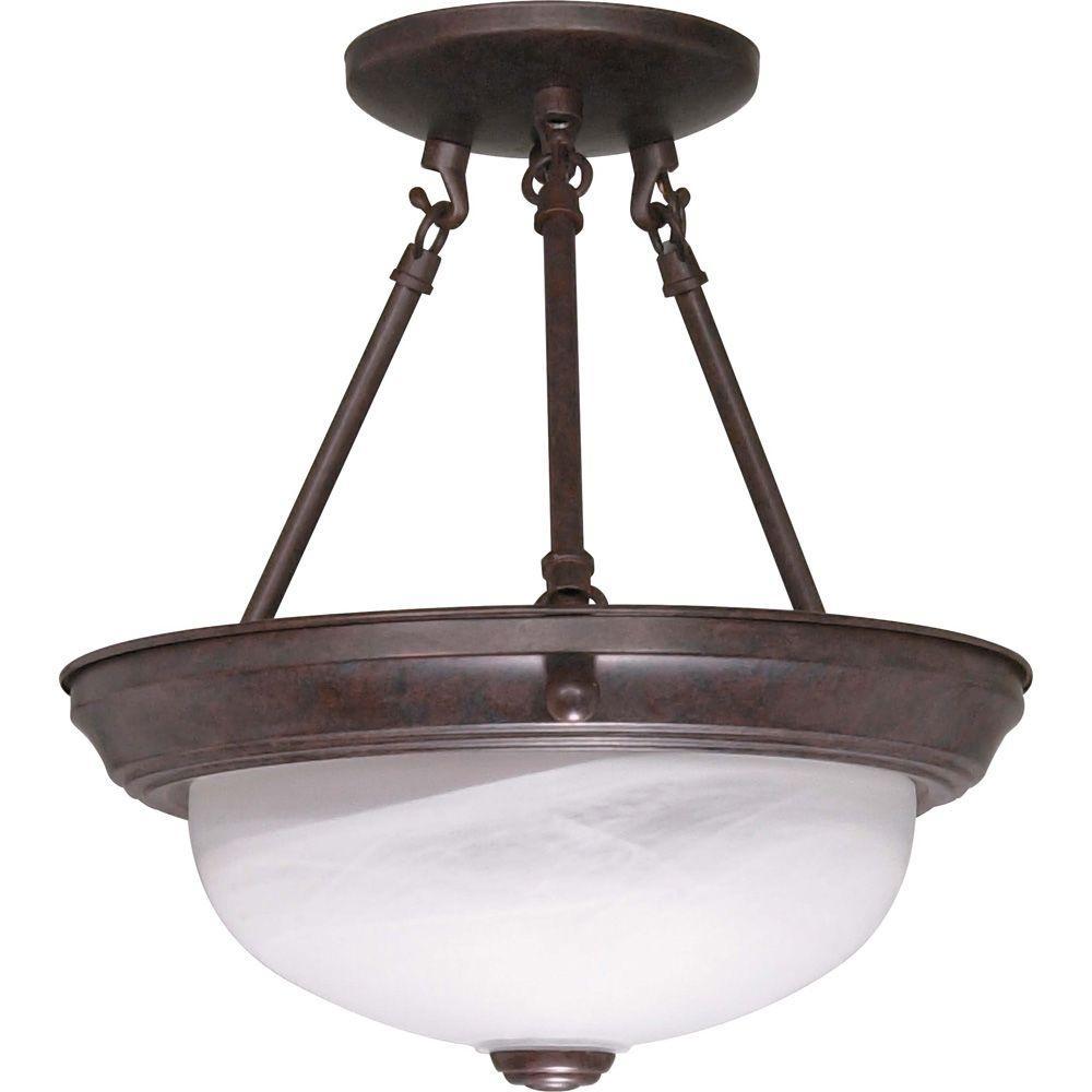Elektra 2-Light Old Bronze Semi-Flush Mount Light with Alabaster Glass
