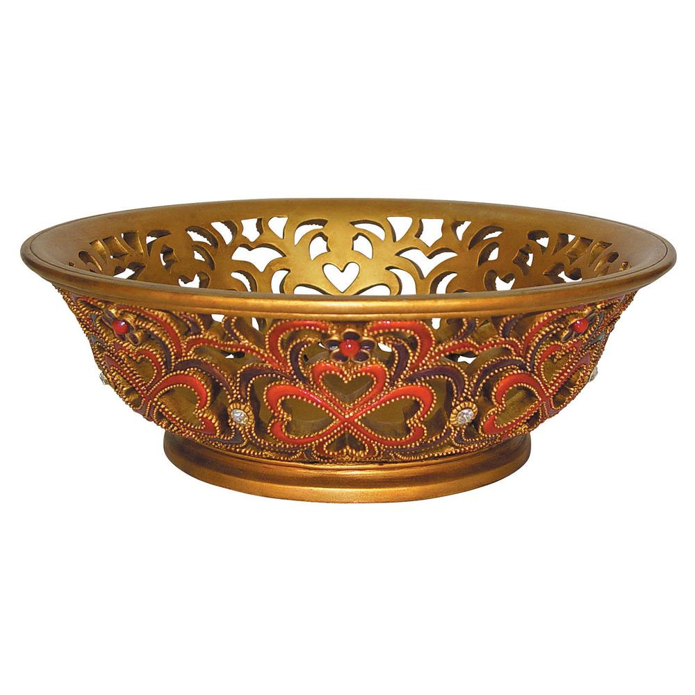 Antique Gold And Red Baroque Polyresin Decorative Bowl