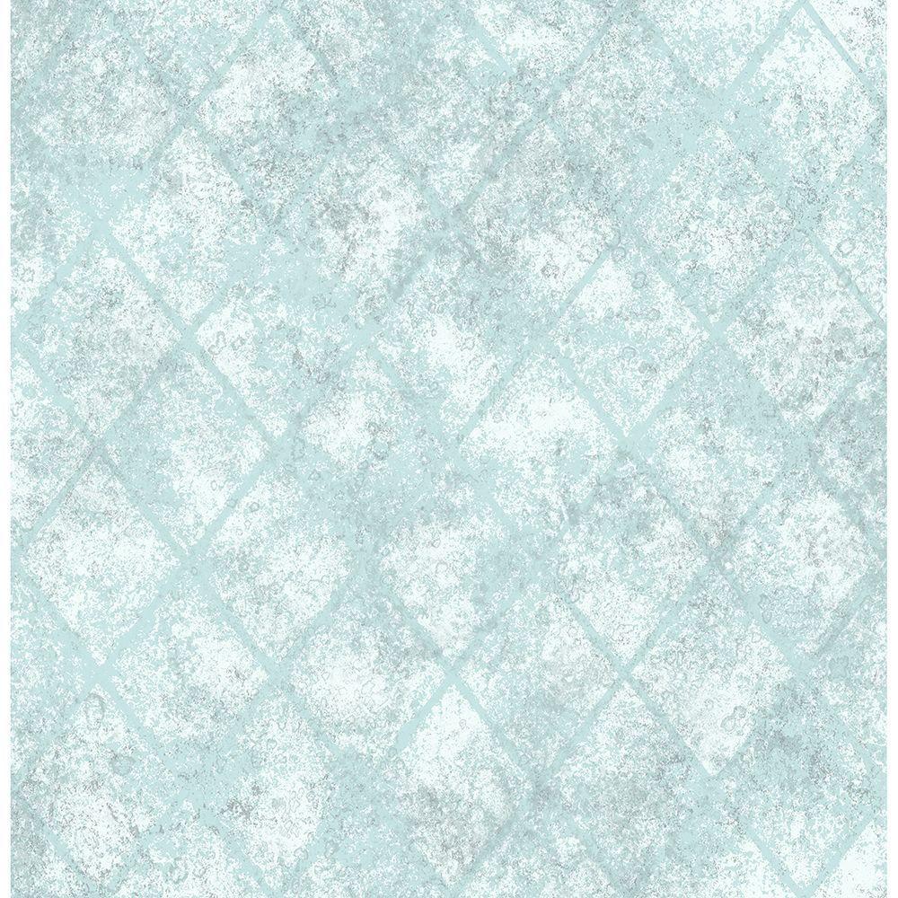 Blue Mercury Glass Distressed Metallic Wallpaper Sample
