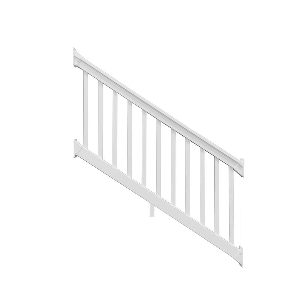 Weatherables riviera 3 5 ft h x 8 ft w white vinyl stair railing kit cwr t42 e8s the home depot - Vinyl railing reviews ...
