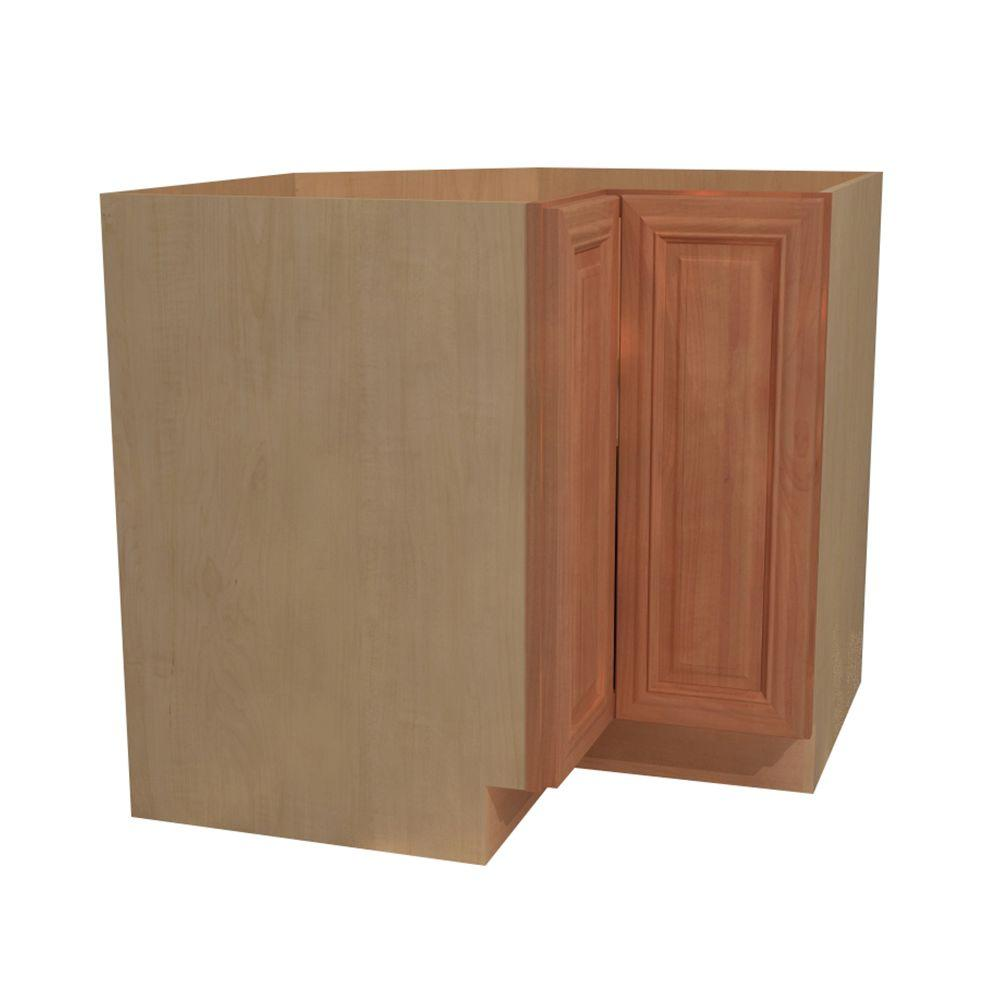 Home Decorators Collection Dartmouth Assembled 36x34.5x24 in. Easy Reach Hinge Left Base Kitchen Corner Cabinet in Cinnamon