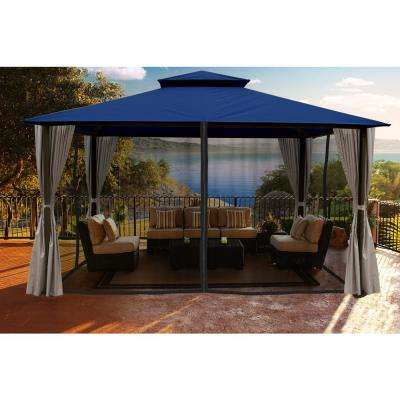 Paragon 11 ft. x 14 ft. Gazebo with Navy Color Roofand Privacy Curtains and Mosquito Netting