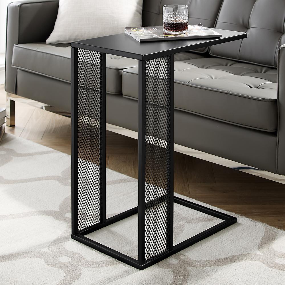 "20"" Industrial Rectangle Metal Mesh C-Table - Black"