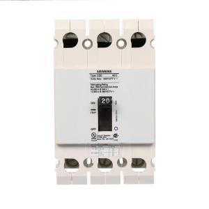 Siemens 20 Amp Triple Pole Type CQD Cabe In Cable Out DIN Rail Circuit Breaker by Siemens