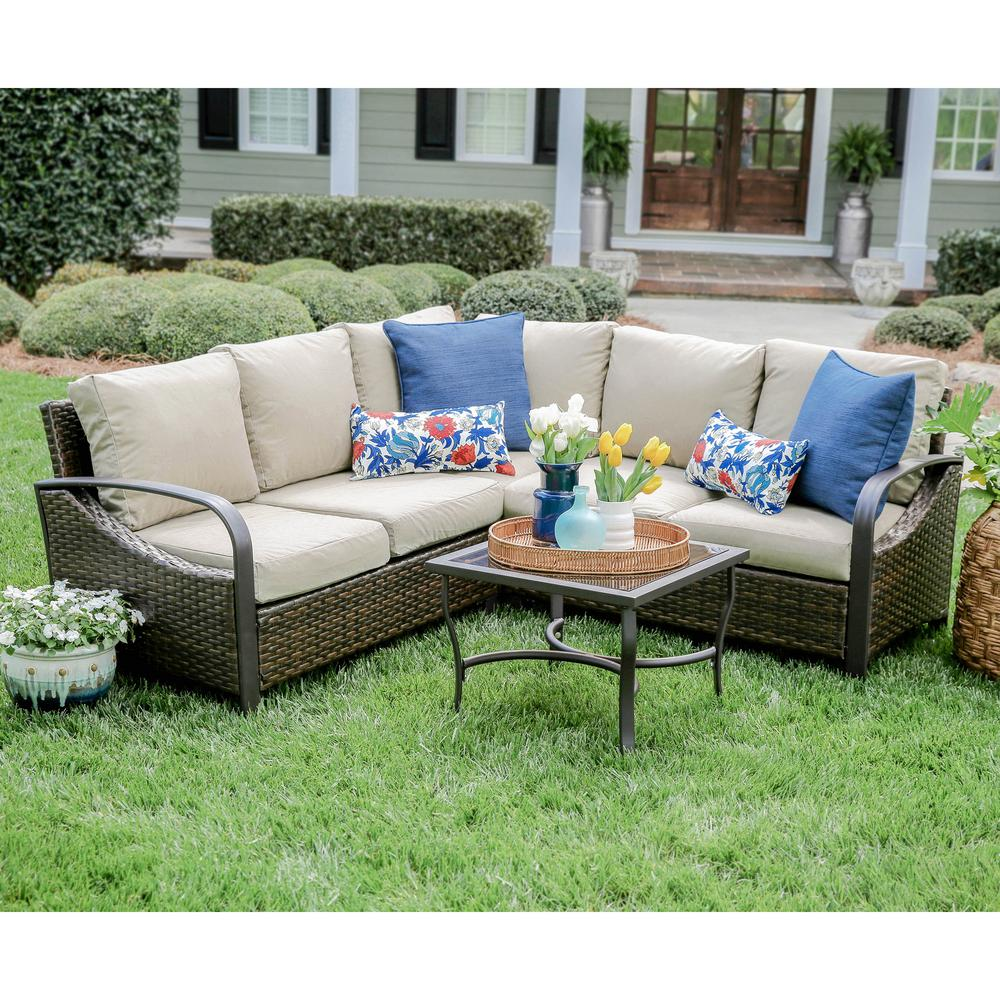 Leisure Made Wicker Outdoor Sectional Set Tan Cushions