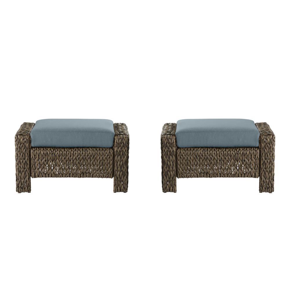 Laguna Point Brown Wicker Outdoor Patio Ottoman with Sunbrella Denim Blue Cushions (2-Pack)