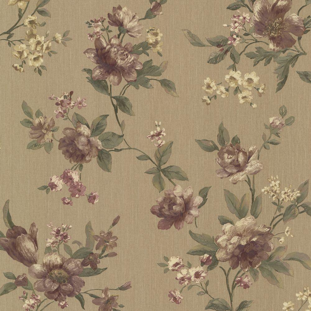 Empress Brass Floral Trail Wallpaper