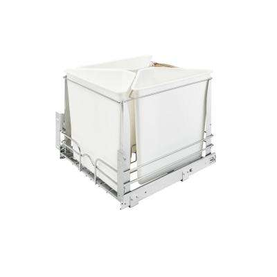 20.25 in. H x 20 in. W x 22.25 in. D White Three Bin Recycling Center with Soft-Close Slides