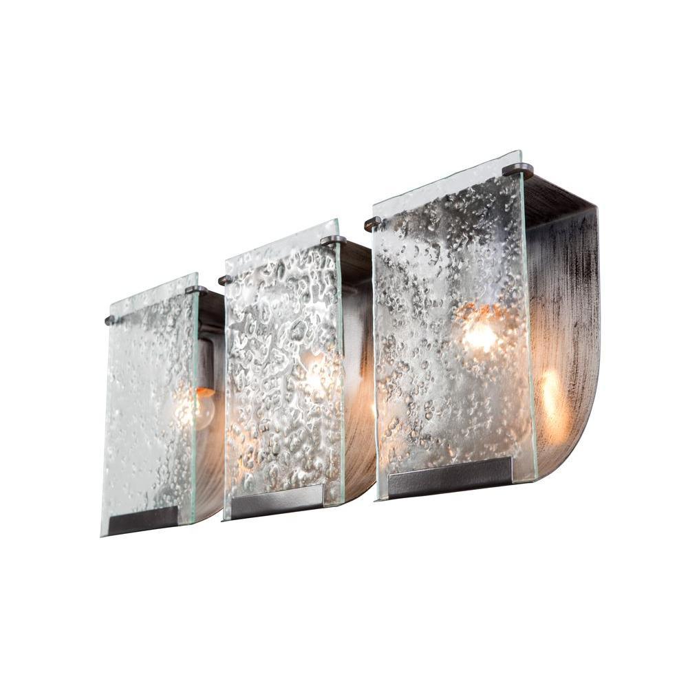 Varaluz Rain 3 Light Rainy Night Bath Vanity Light With Recycled  Hand Pressed Glass
