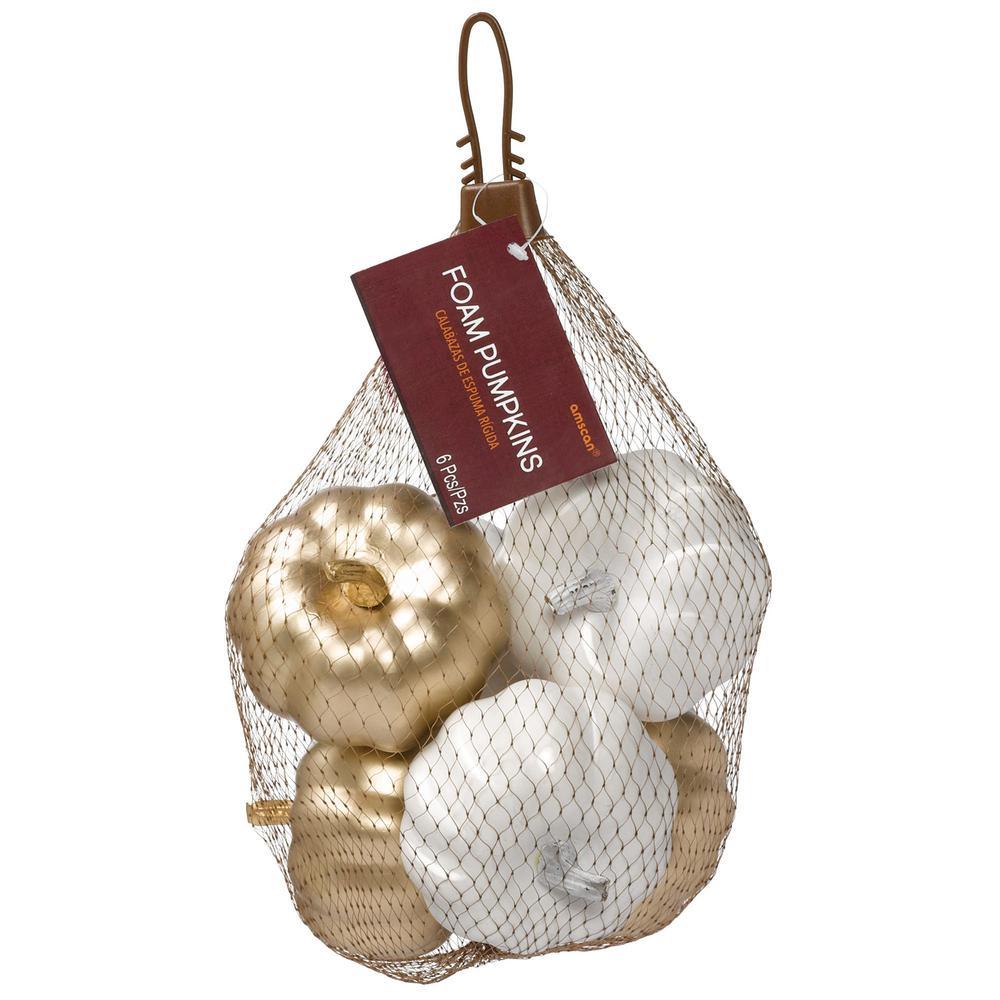 3 in. Fall Bag of Mini Metallic Foam Pumpkins (3-Pack)