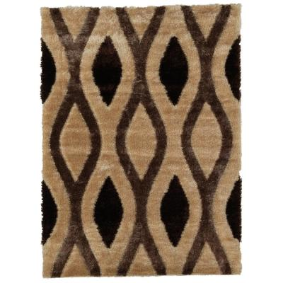 Casamode Casa Regina Shaggy Collection 3D Design Geometric Trellis Brown Beige Soft Shag 5 ft. x 7 ft. Area Rug