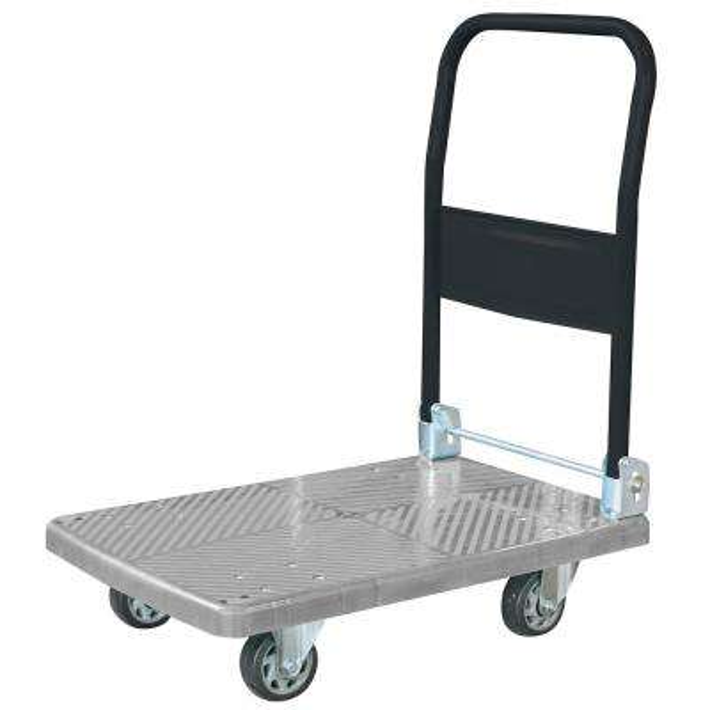 18 in. W 440 lbs. Capacity Heavy-Duty Plastic Folding 4-Wheeled Platform Truck/Utility Cart in Blue