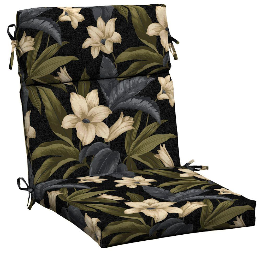Hampton Bay Black Tropical Blossom Outdoor Dining Chair Cushion-DISCONTINUED