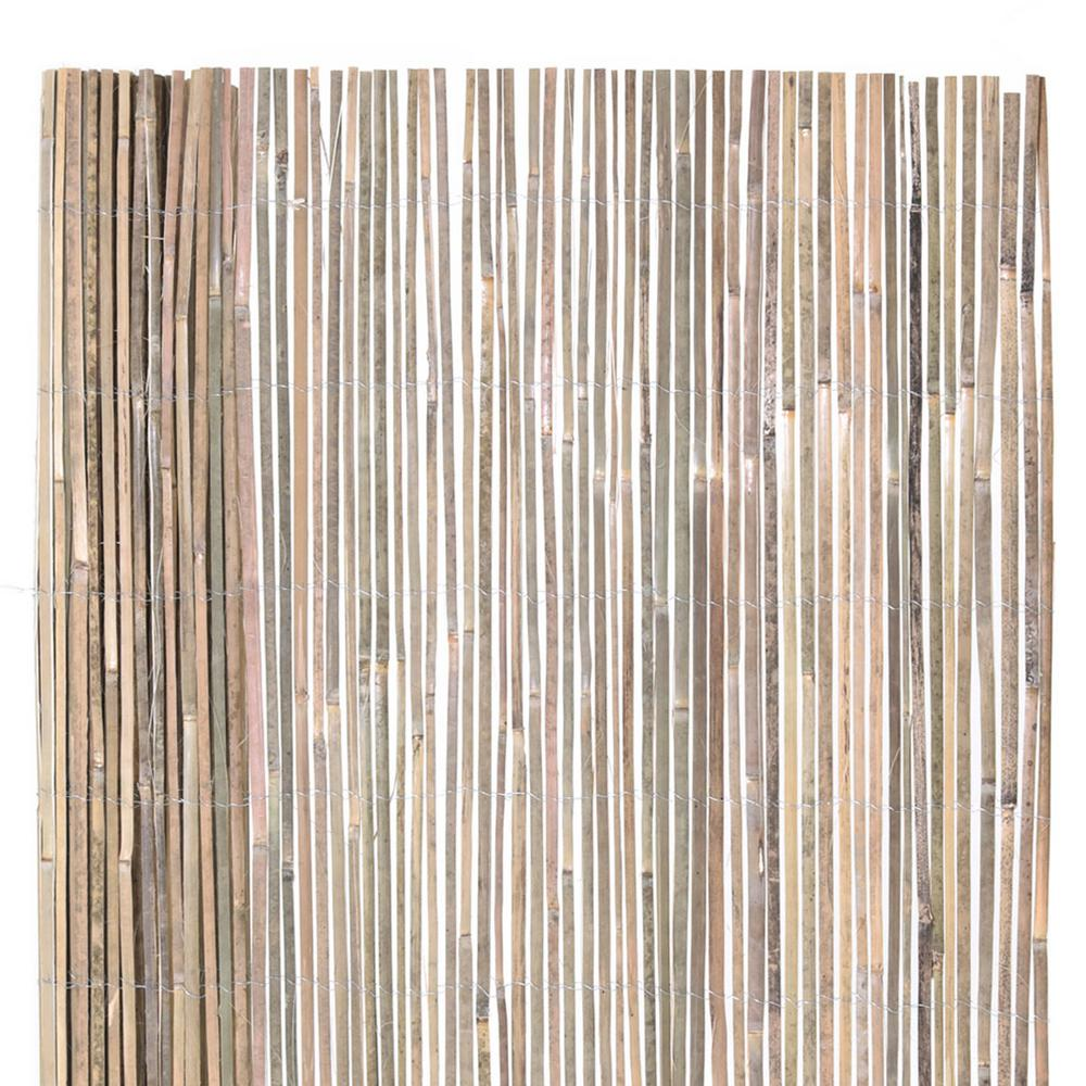 Backyard X-Scapes 6 ft. H x 16 ft. L Natural Raw Split Bamboo Slat Fencing