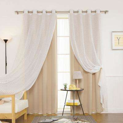 Beige 84 in. L uMIXm Sheer Checkered and Blackout Curtain (4-Pack)