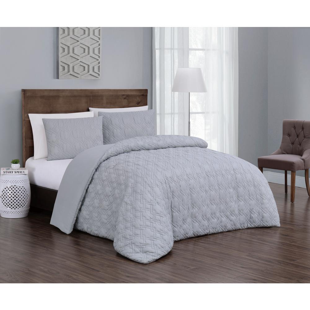 Embossed 3-Piece Light Grey Queen Comforter Set