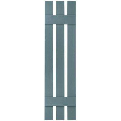 12 in. x 43 in. Lifetime Vinyl Standard Three Board Spaced Board and Batten Shutters Pair Wedgewood Blue