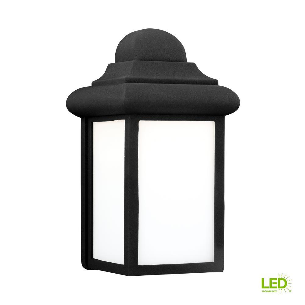 Sea Gull Lighting Mullberry Hill Small 1 Light Black Outdoor 8 75 In Wall Mount Lantern With Led Bulb 8988en3 12 The Home Depot