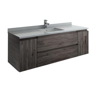 Formosa 60 in. Modern Wall Hung Vanity in Warm Gray with Quartz Stone Vanity Top in White with White Basin
