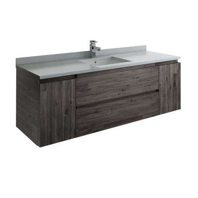 Formosa 59 in. W Modern Wall Hung Vanity Cabinet Only in Warm Gray