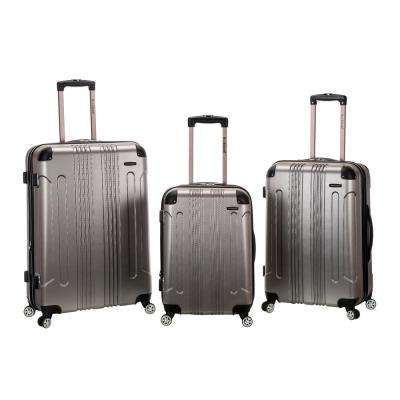 Rockland Sonic 3-Piece Hardside Spinner Luggage Set, Silver