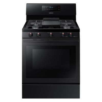 30 in. 5.8 cu. ft. Gas Range with Self-Cleaning and Fan Convection Oven in Black