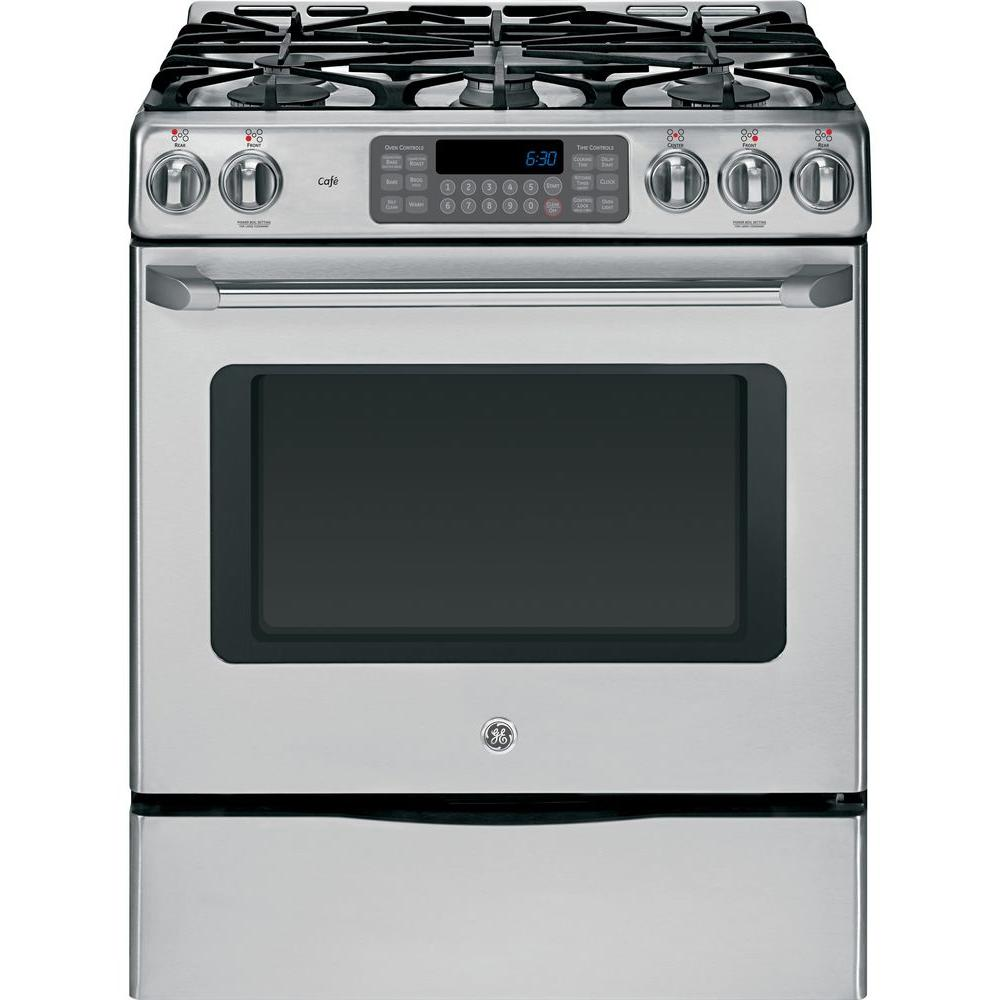 GE Cafe 30 in. 5.4 cu. ft. Gas Range with Self-Cleaning Convection Oven in Stainless Steel