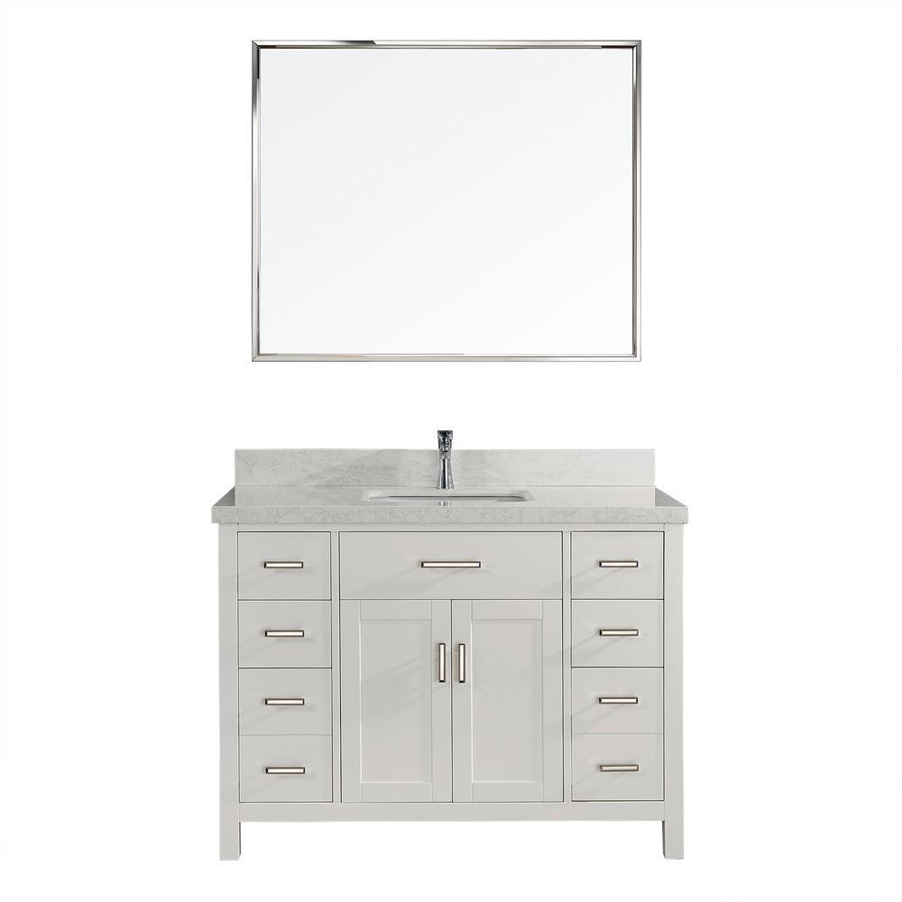 Studio Bathe Kalize II 48 in. W x 22 in. D Vanity in White with Engineered Vanity Top in White with White Basin and Mirror