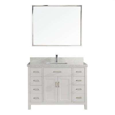 Kalize II 48 in. W x 22 in. D Vanity in White with Engineered Vanity Top in White with White Basin and Mirror