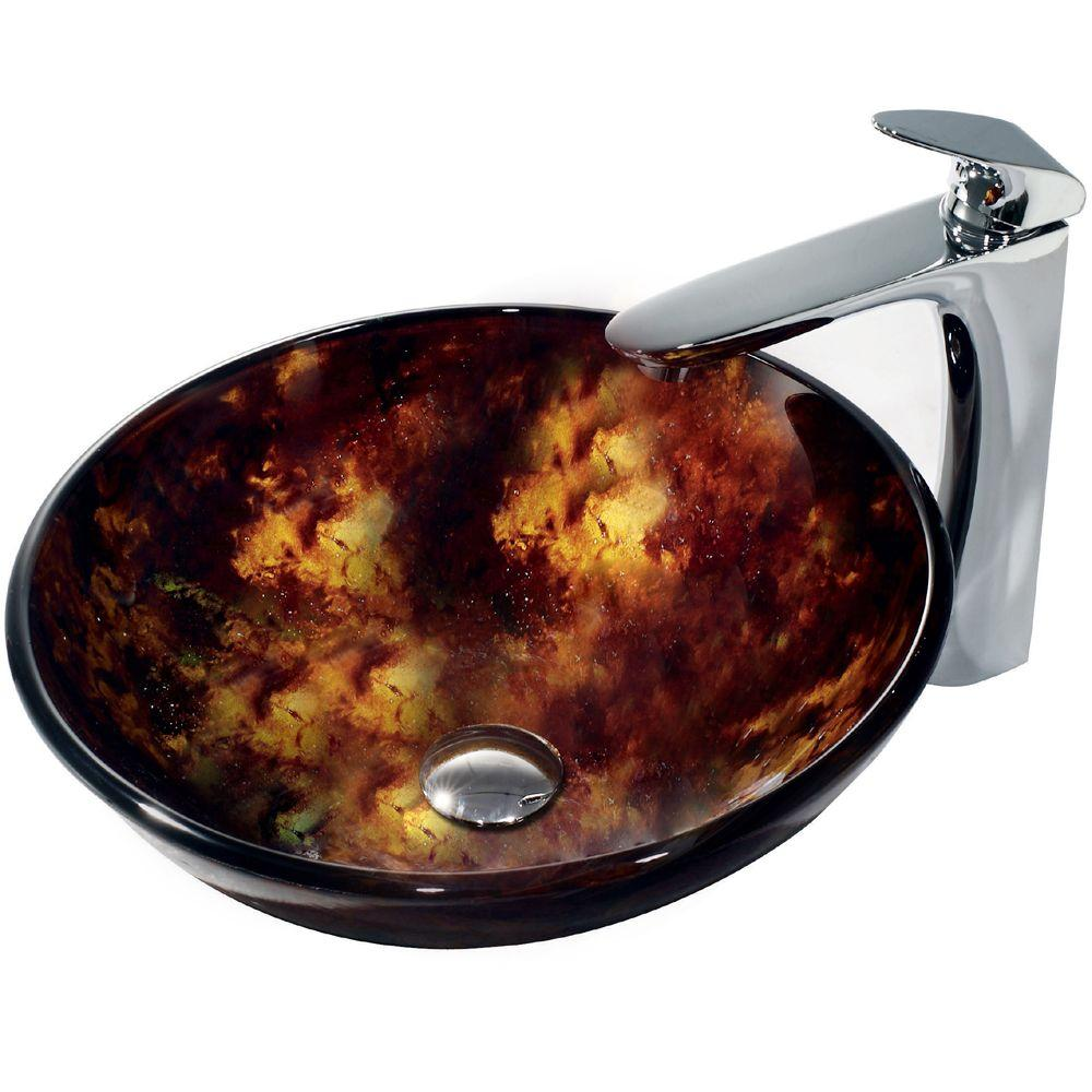 Vigo Tortoise Vessel Sink in Multicolor with Edged Faucet in Chrome