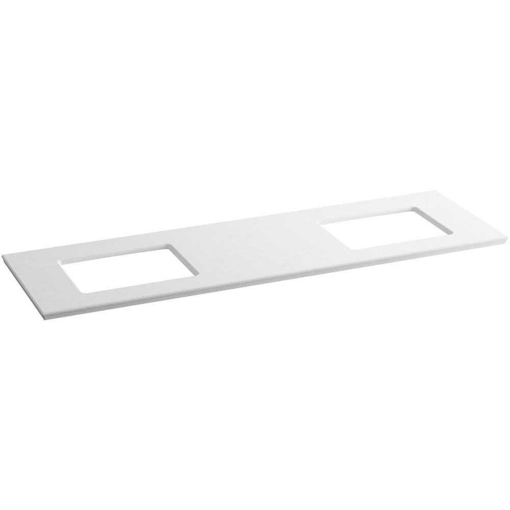 KOHLER Solid/Expressions 73.625 in. Solid Surface Vanity Top in White Expressions without Basin