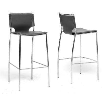 Montclare Black Faux Leather Upholstered 2-Piece Bar Stool Set