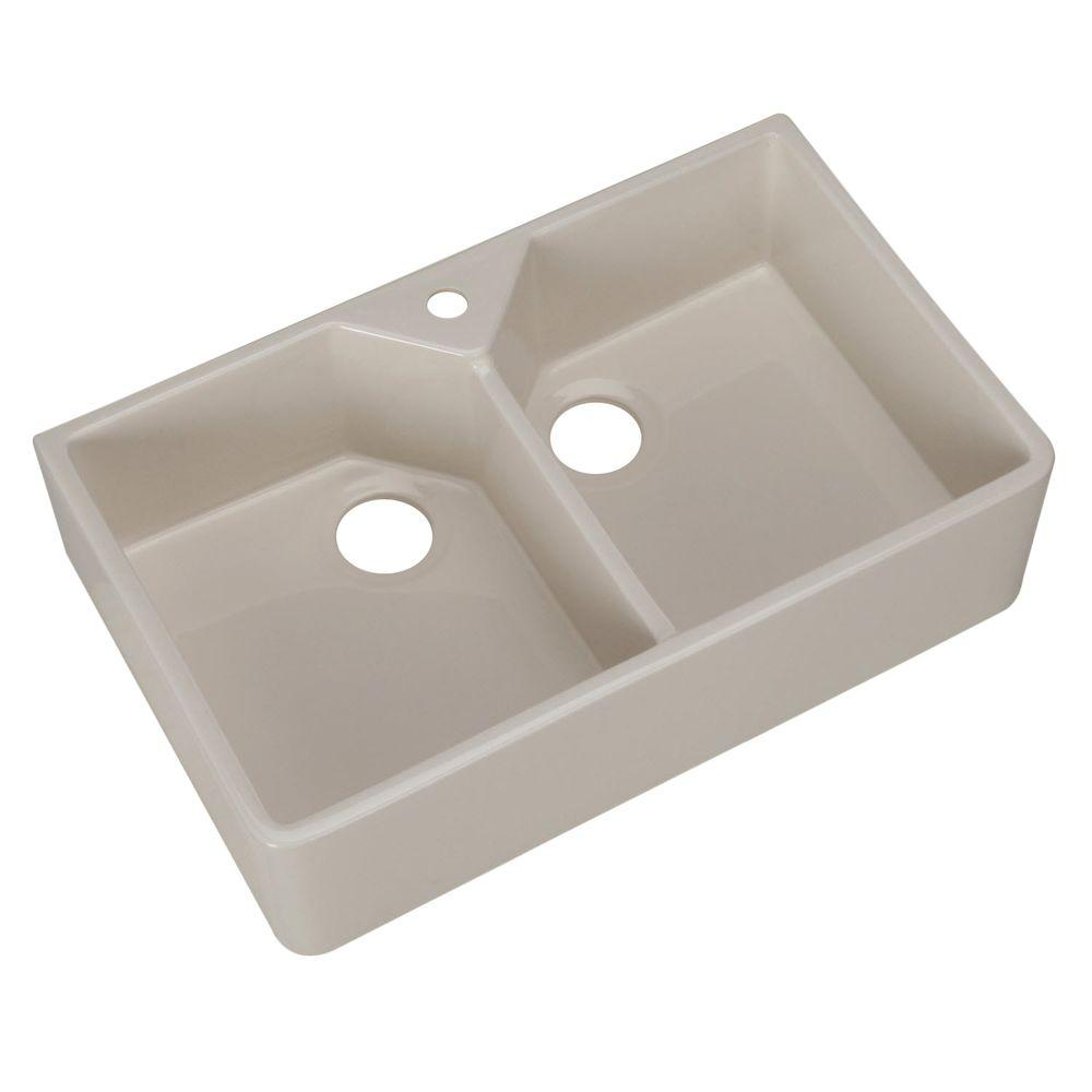 Pegasus Farmhouse Apron Front Fireclay 32 in. 1-Hole Double Bowl Kitchen Sink in Bisque