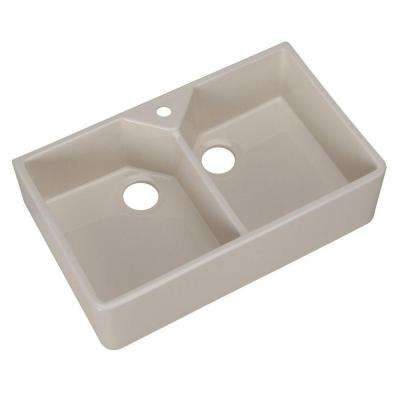 Farmhouse Apron Front Fireclay 32 in. 1-Hole Double Basin Kitchen Sink in Bisque