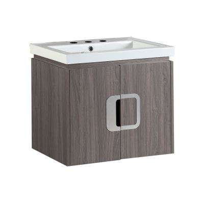 Torrey 24 in. W x 19 in. D x 22 in. H Single Vanity in Gray Brown Oak with Ceramic Vanity Top in White with White Basin