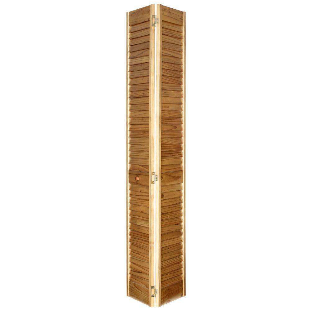 Home Fashion Technologies 30 in. x 80 in. 2 in. Louver/Louver MinWax Golden Oak Solid Wood Interior Closet Bi-fold Door