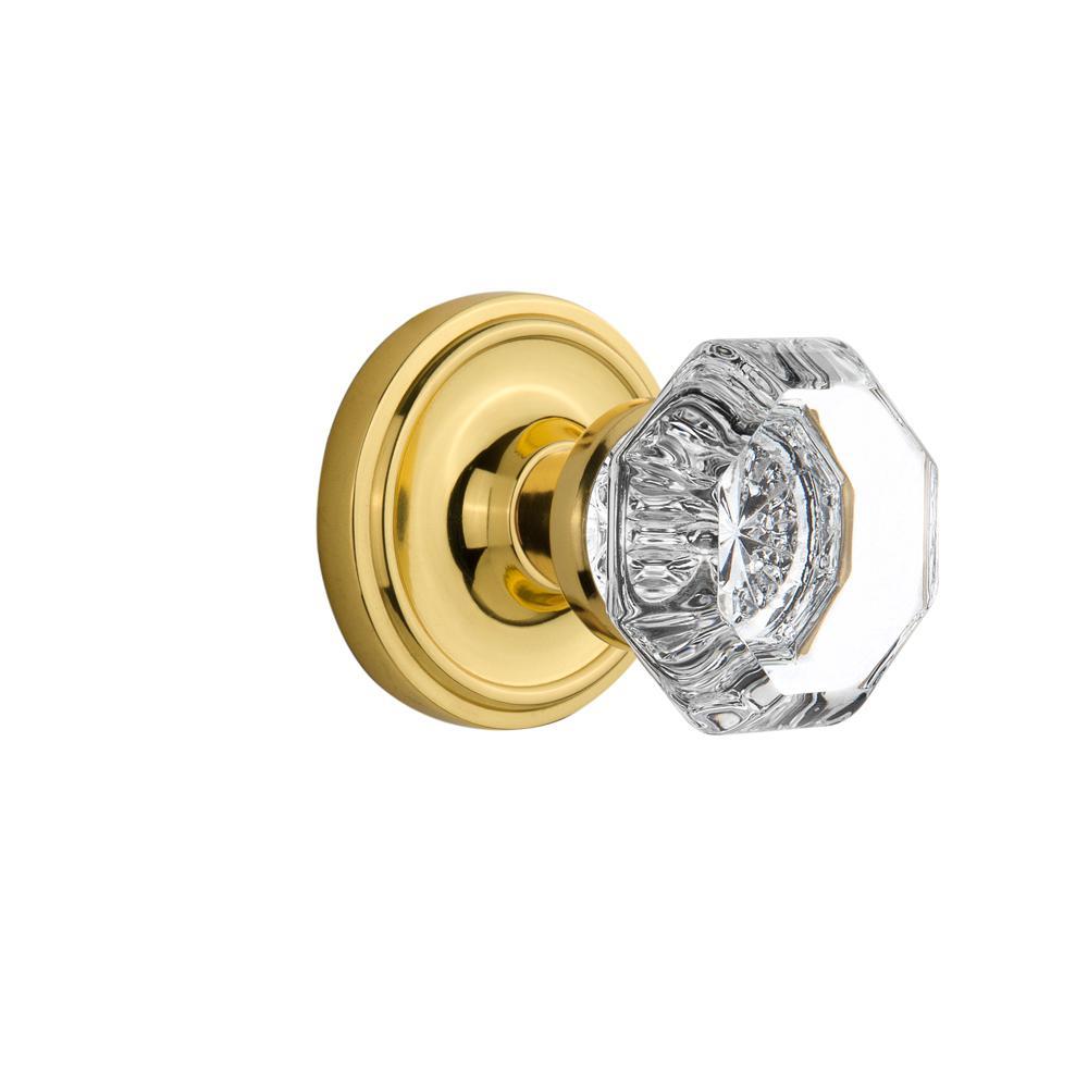 Classic Rosette Single Dummy Waldorf Door Knob in Unlacquered Brass