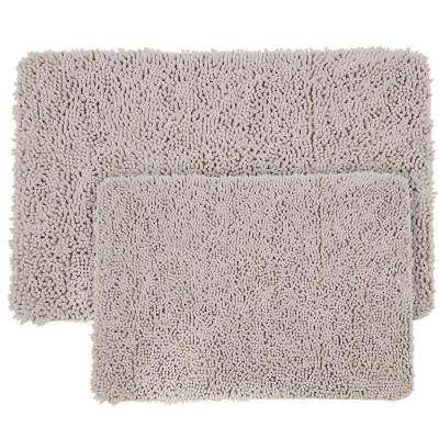 Shag Light Grey 21 in. x 32 in. Memory Foam 2-Piece Bath Mat Set