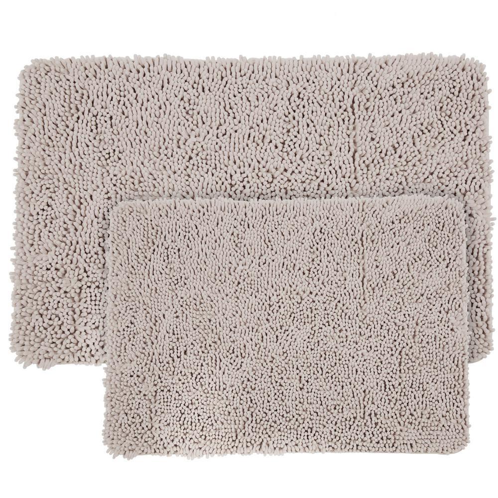 Shag Light Grey 21 in. x 32 in. Memory Foam 2-Piece Bath Mat Set